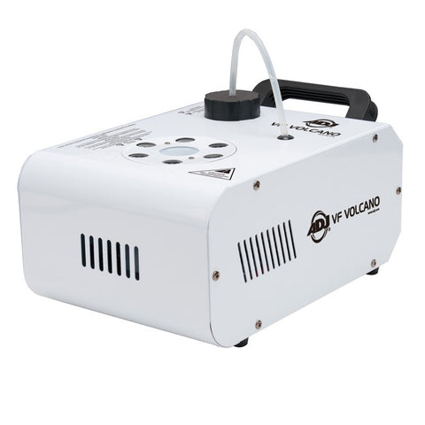 The ADJ VF Volcano  is a compact and affordable vertical Fog Machine that mixes color into the fog from 6x 3-Watt RGB LEDs.
