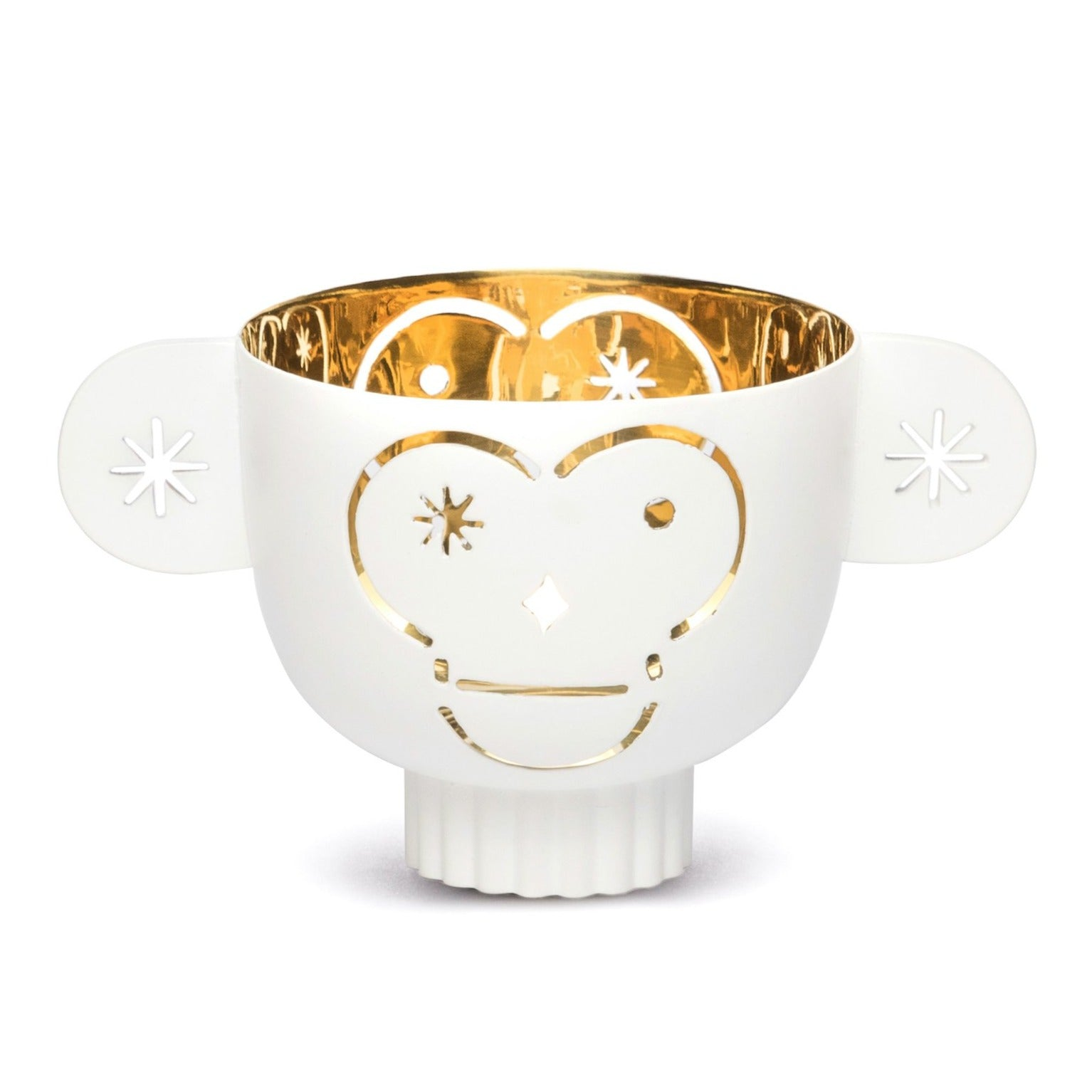 Monkos - Brass candle holder white outside