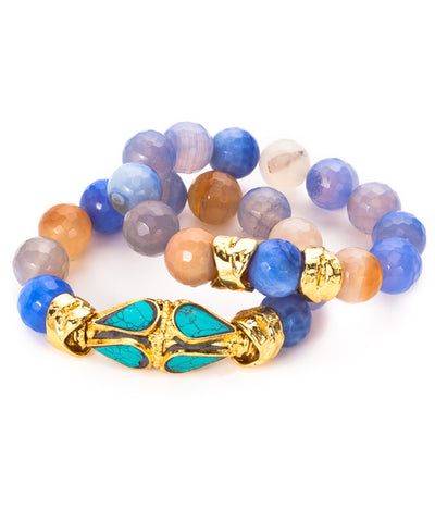 Fire Agate, Turquoise and Gold Stretch Bracelet Set