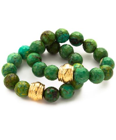 Green Turquoise Gold Accent Stretch Bracelets