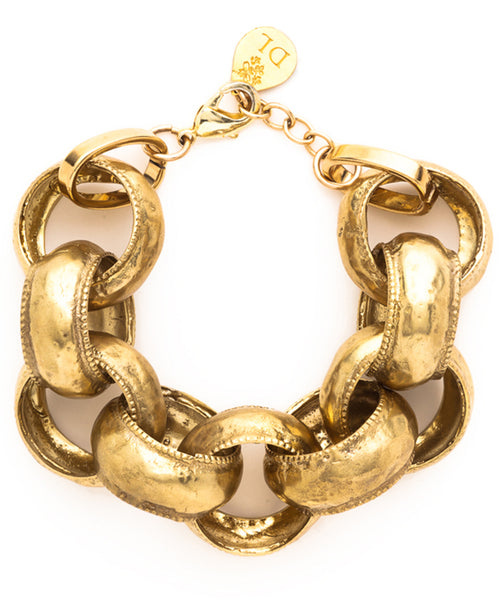 Large Textured Brass Link Bracelet