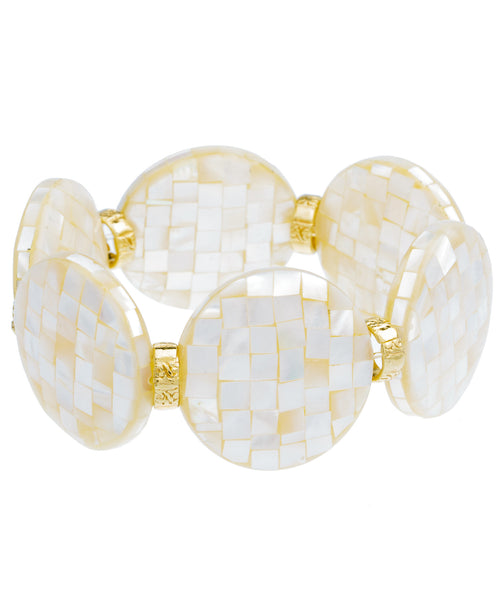 Large Mother of Pearl Disc Stretch Bracelet
