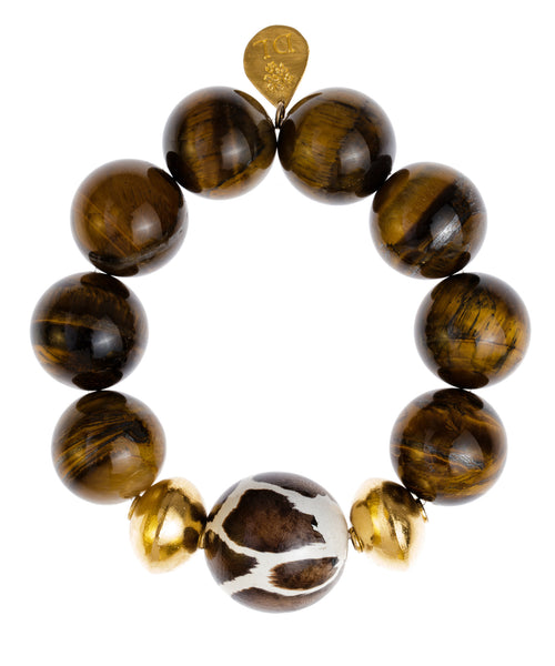 Tiger's Eye with Animal Print and Gold Stretch Bracelet