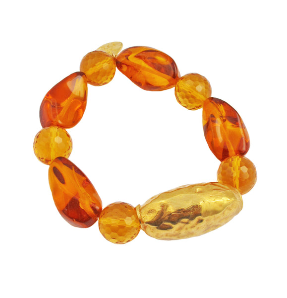 Amber Citrine Gold Accent Stretch Bracelet