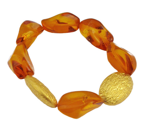 Amber Textured Gold Stretch Bracelet