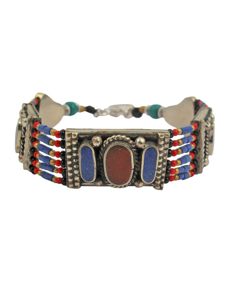 Ethnic Lapis and Coral Bracelet