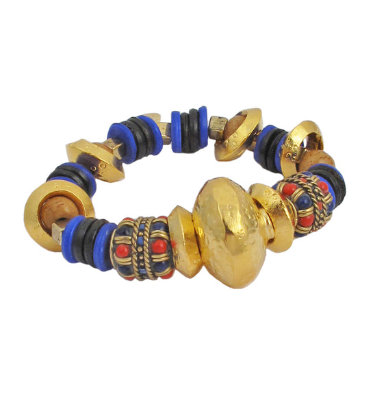 Lapis Coral Gold Ethnic Stretch Bracelet