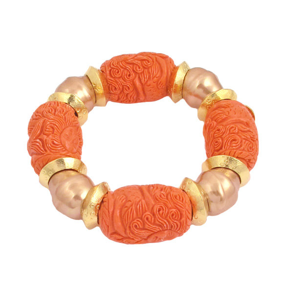 Carved Peach Resin Pearl Shell Gold Accent Stretch Bracelet