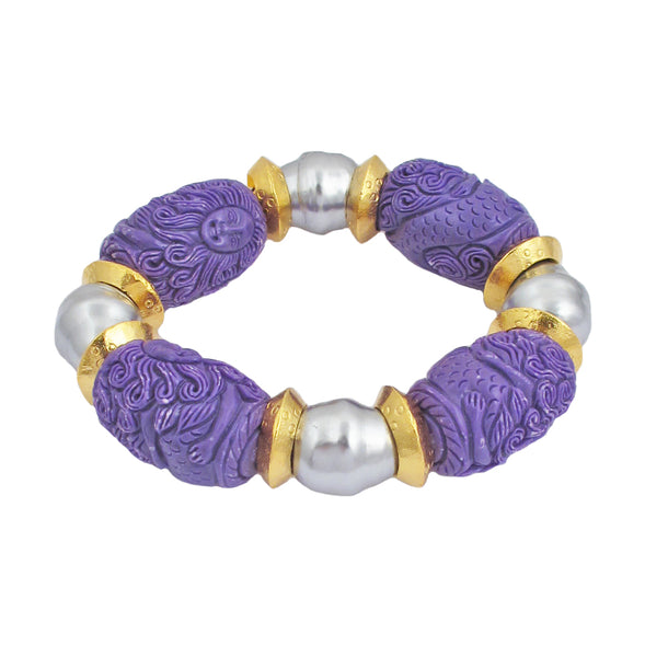 Carved Purple Resin Pearl Shell Gold Accent Stretch Bracelet