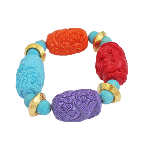 Multicolor Carved Resin Gold Accent Stretch Bracelet