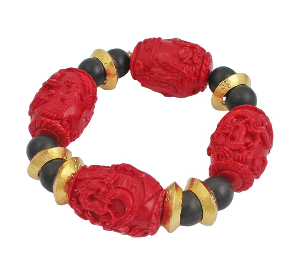 Red Carved Resin Black Agate Gold Accent Stretch Bracelet