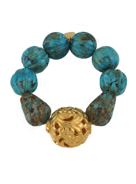 Blue Carved Turquoise Gold Accent Stretch Bracelet