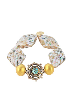 Pearl Mosaic Gold Accent Ethnic Stretch Bracelet