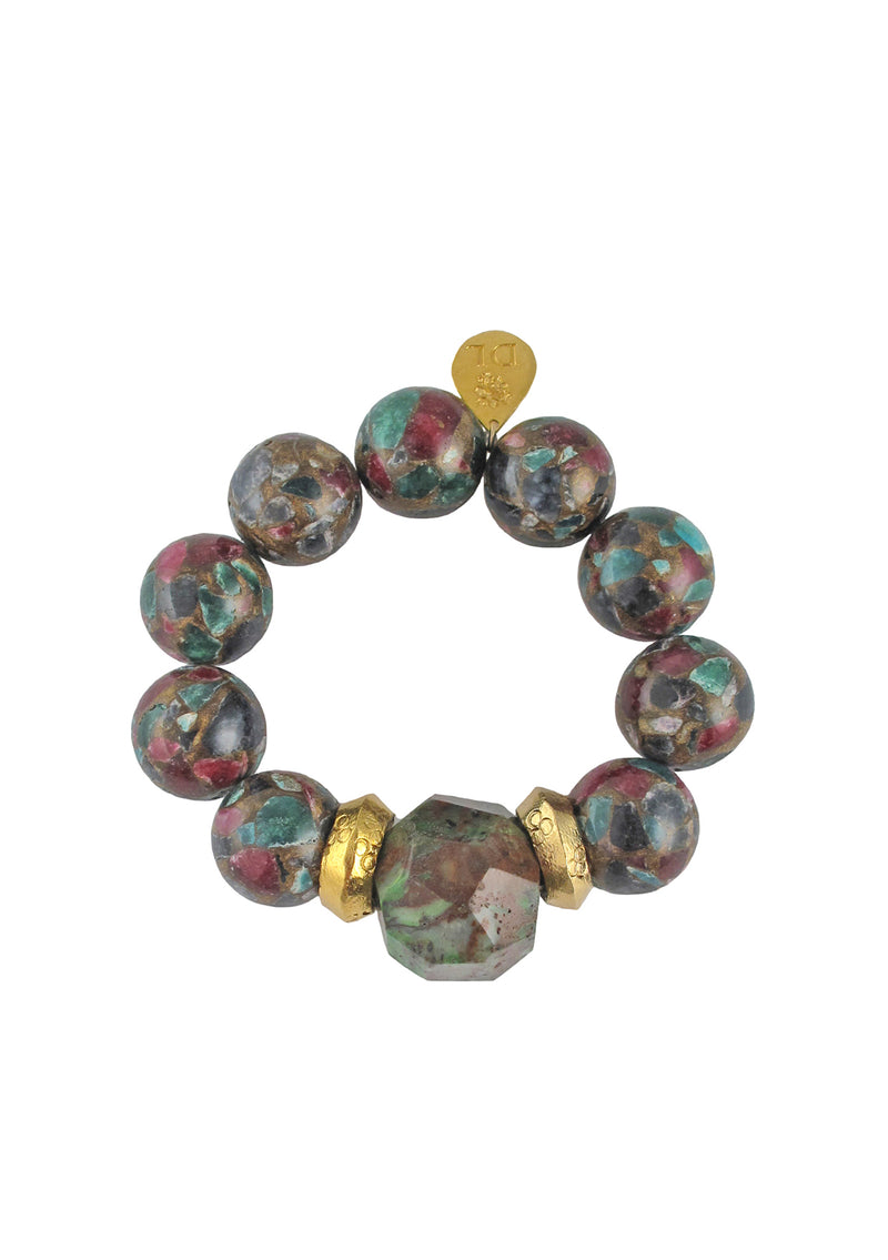 Rainbow Mosaic Jasper Green Opal Gold Accent Stretch Bracelet