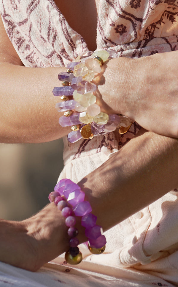 Ametrine Spike Stretch Bracelet