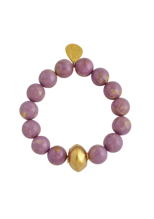 Lavender Gold Accent Stretch Bracelet