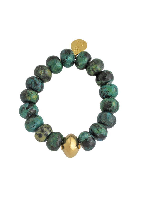 Devon Leigh Green Chrysocolla Stone Beaded Stretch Bracelet