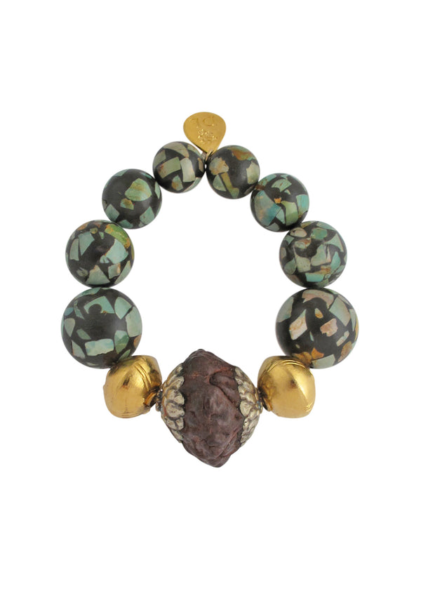 Ethnic Slab Turquoise Stretch Bracelet