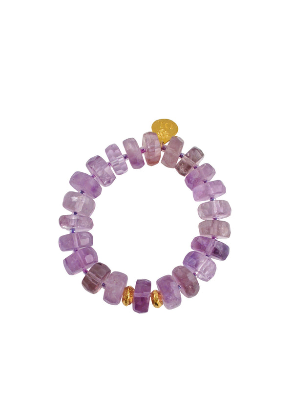 Devon Leigh | Amethyst Rondelle Gold Accent Stretch Bracelet - Handmade in the U.S.A.
