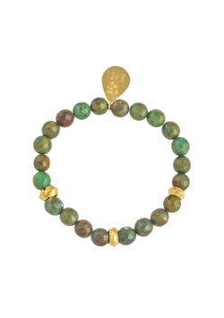 Green Turquoise Gold Accent Stretch Bracelet