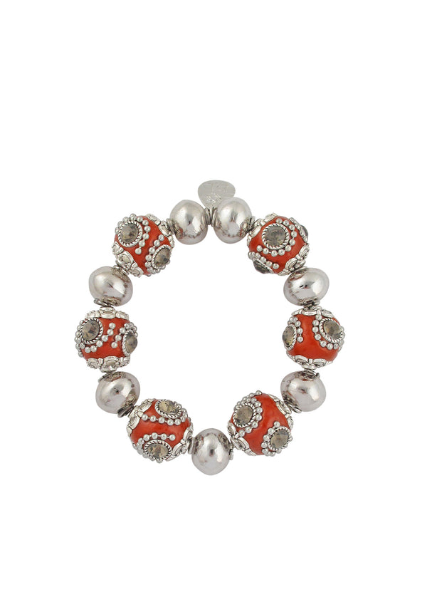 Rhodium Red Ethnic Bead Stretch Bracelet