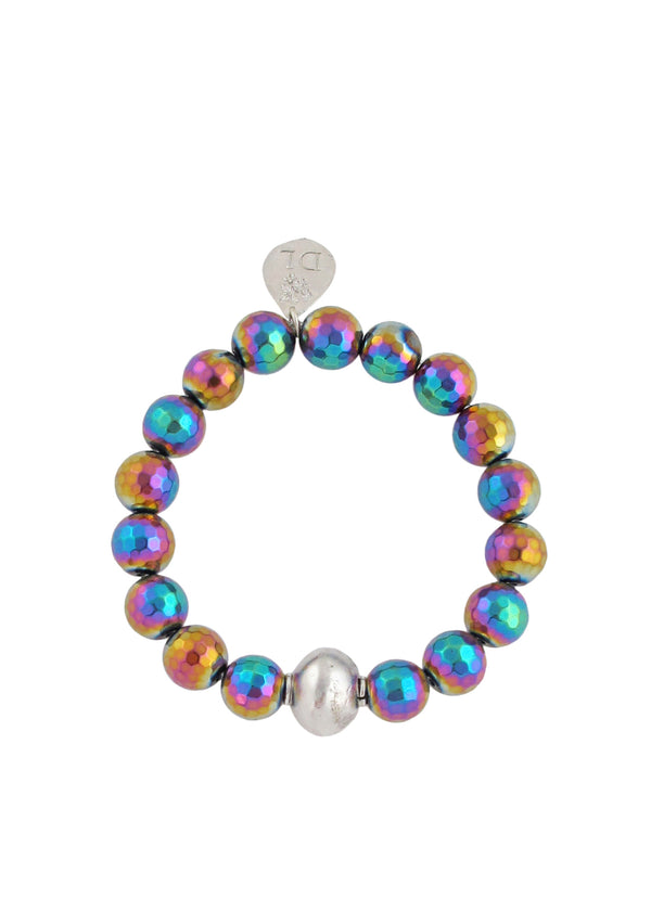 Rainbow Titanium Coated Pyrite Rhodium Accent Stretch Bracelet