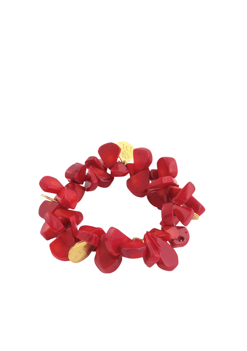 Up and Down Red Coral Stretch Bracelet
