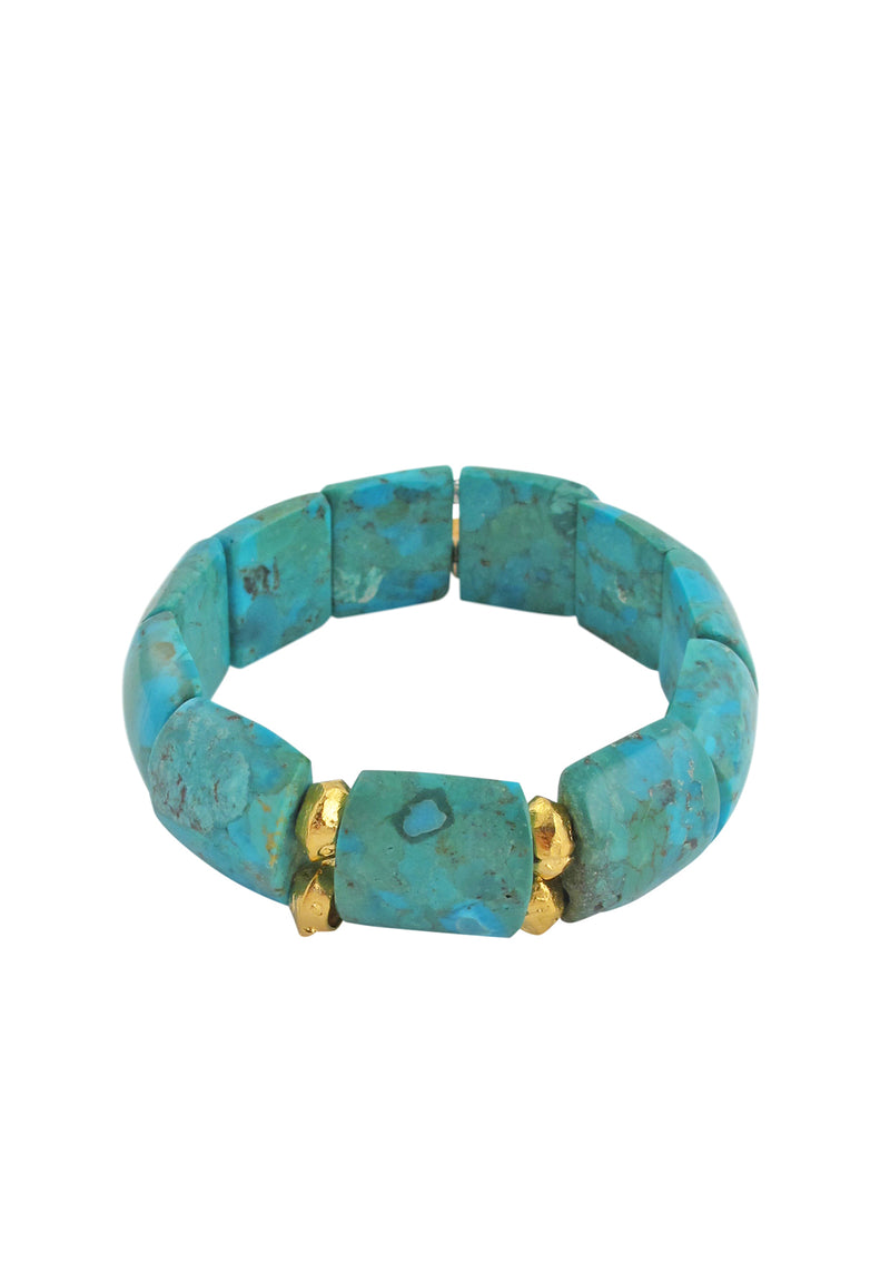 Turquoise Gold Accent Stretch Bracelet