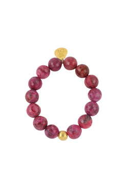 Ruby Quartz Gold Accent Stretch Bracelet