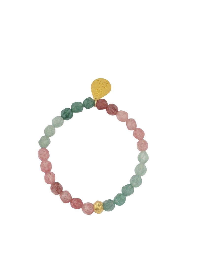 Watermelon Quartz Gold Accent Stretch Bracelet