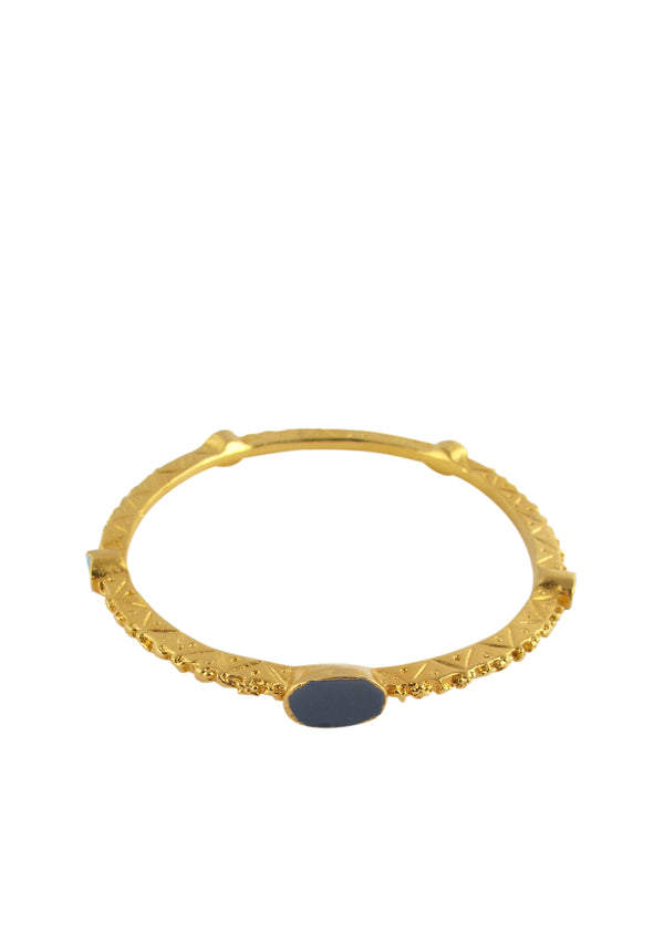 Gold Etched Enamel Accent Bracelet