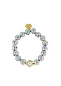 Rainbow Coated Lava Pearl and Gold Accent Stretch Bracelet