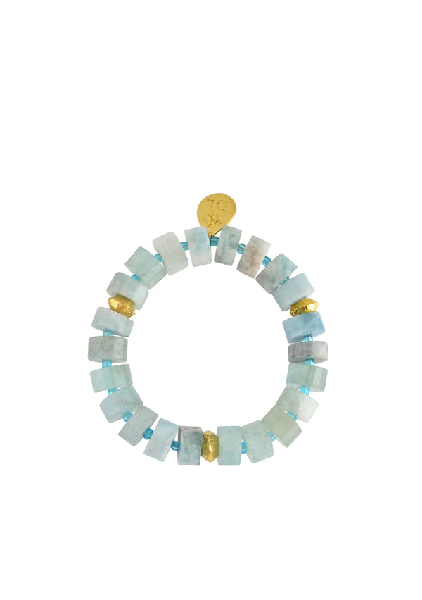 Aquamarine Gold Accent Stretch Bracelet