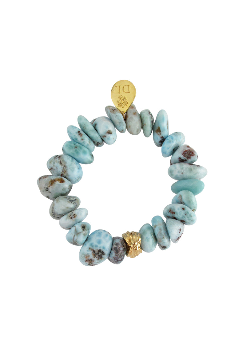 Larimar Gold Accent Stretch  Bracelet