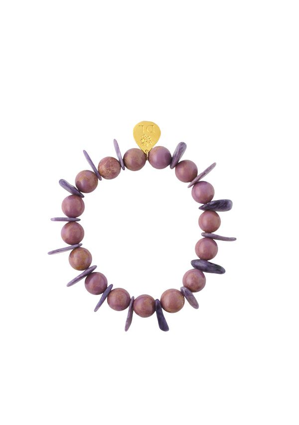 Phosphosiderite and Charoite Slab Stretch Bracelet
