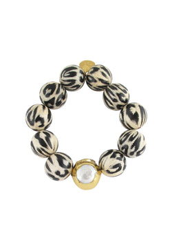 Animal Print Pearl and Gold Stretch Bracelet
