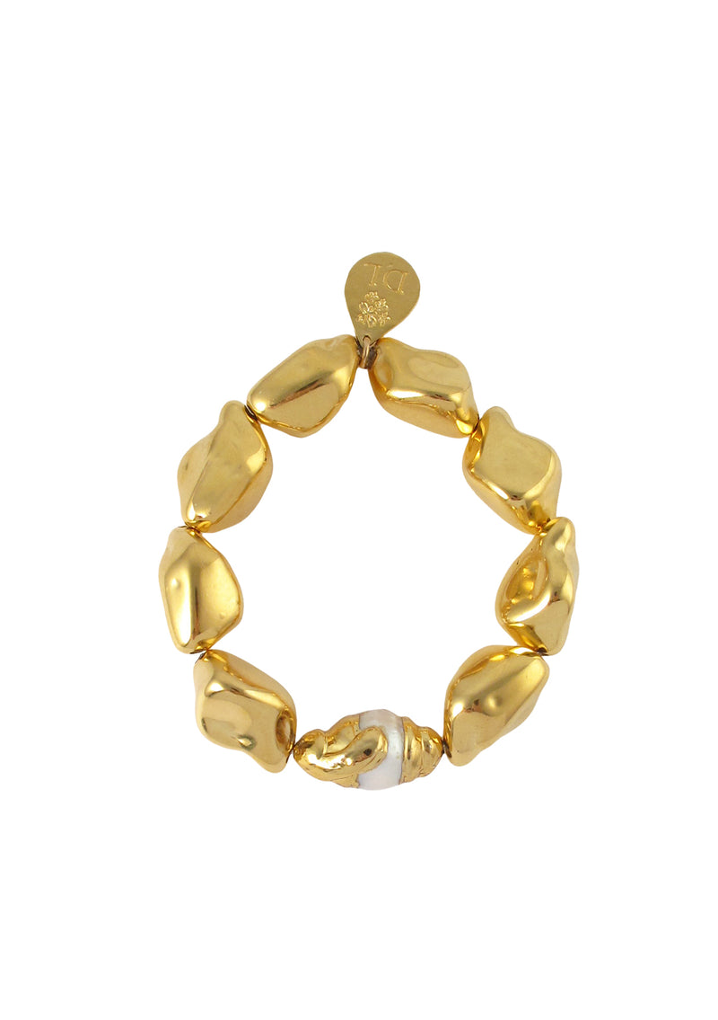 Freshwater Pearl in Gold Bezel Gold Nugget Stretch Bracelet