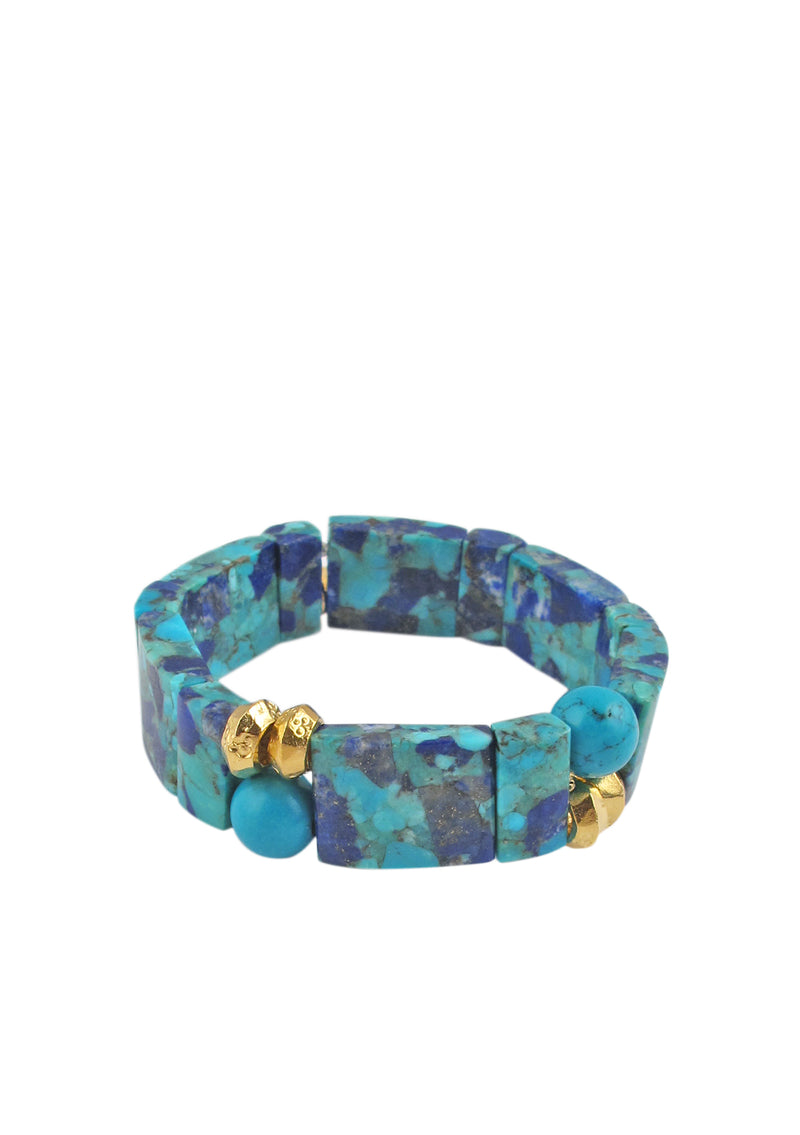 Lapis Turquoise Gold Accent Stretch Bracelet
