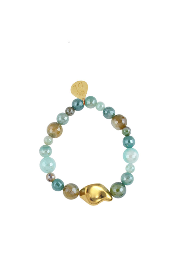 Iridescent Bended Agate Gold Accent Stretch Bracelet