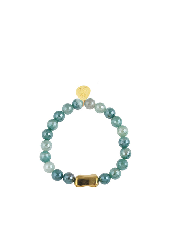 Blue Iridescent Agate Gold Accent Stretch Bracelet