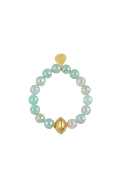 Aqua Iridescent Agate Gold Accent Stretch Bracelet
