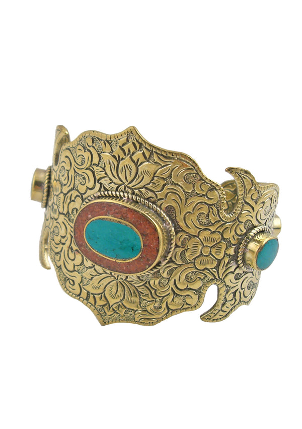 Turquoise Coral Carved Brass Ethnic Cuff