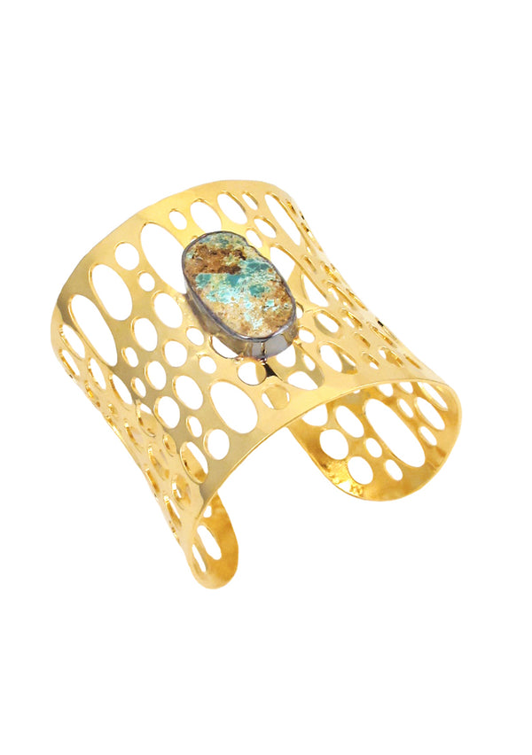 Chrysocolla Accent Gold Open Cuff