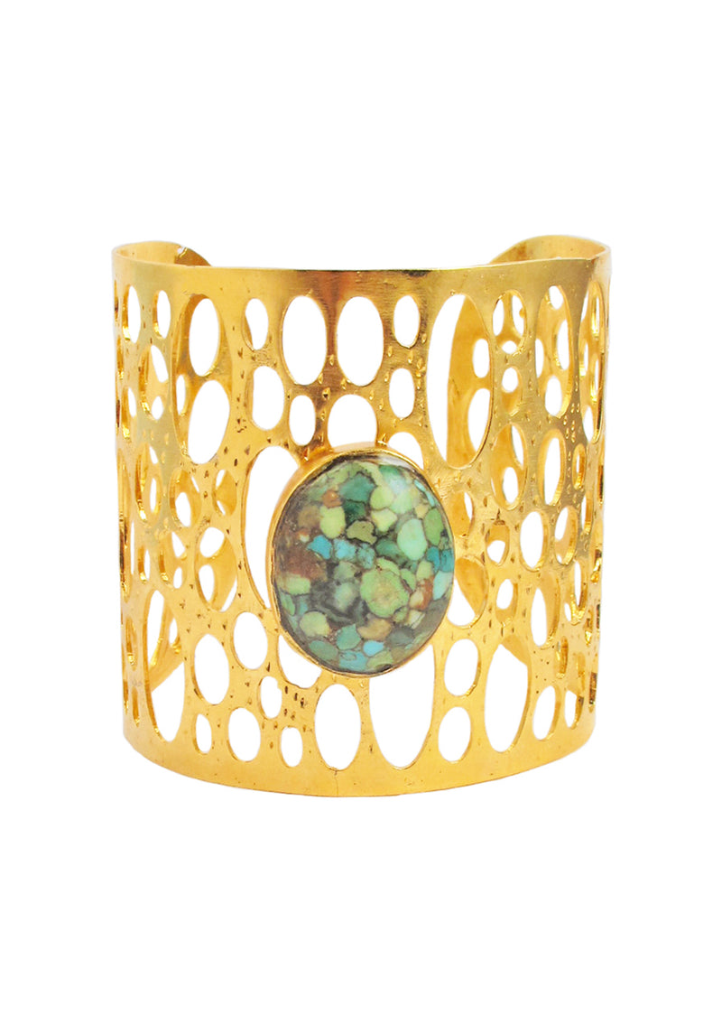 Mosaic Turquoise Accent Cut Out Gold Cuff