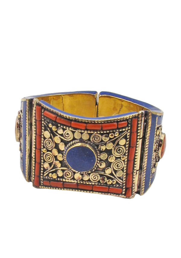 Lapis and Coral Ethnic Cuff