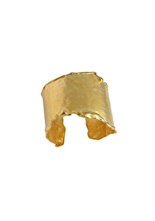 Hammered Rough Edge Gold Cuff