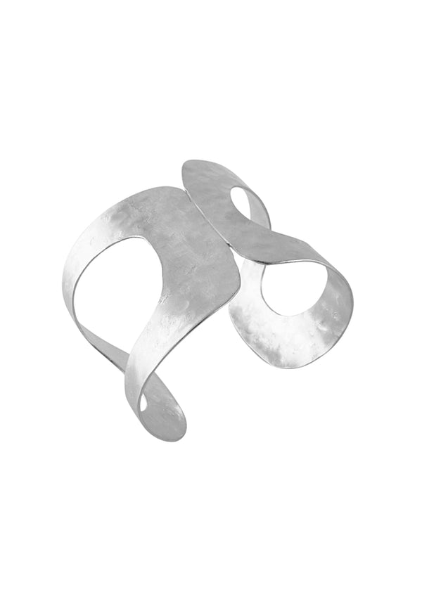 Asymmetrical Open Rhodium Cuff