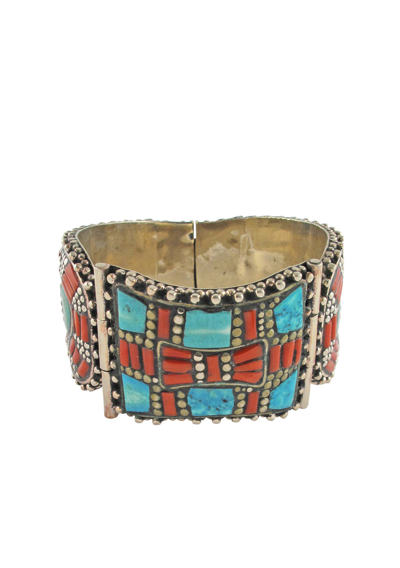 Turquoise Coral White Brass Ethnic Cuff