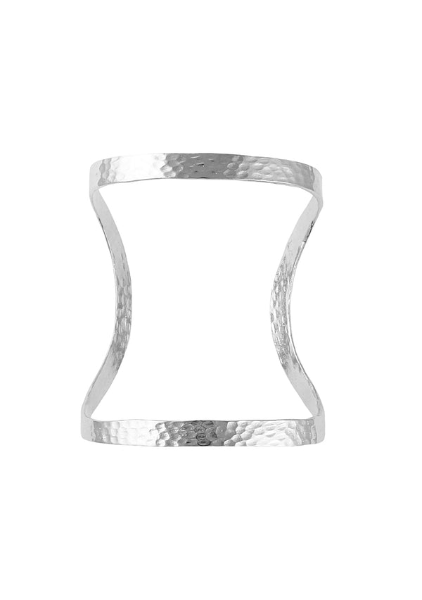 Rhodium Hammered Open Cuff