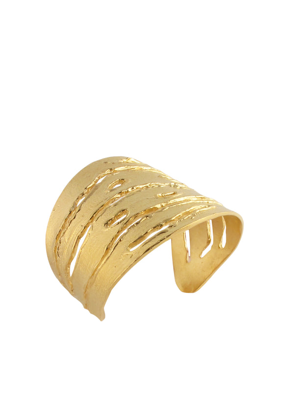 Gold Textured Slit Cuff